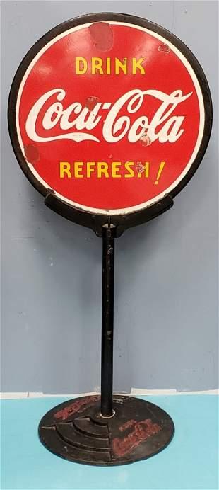 1930's Porcelain Coca Cola Lollipop Sign
