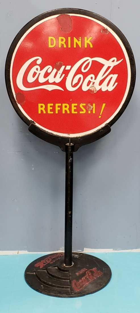 1930's Porcelain Coca Cola Lollipop Sign
