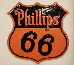 Scarce Fiberglass Embossed Phillips 66 Shield Sign