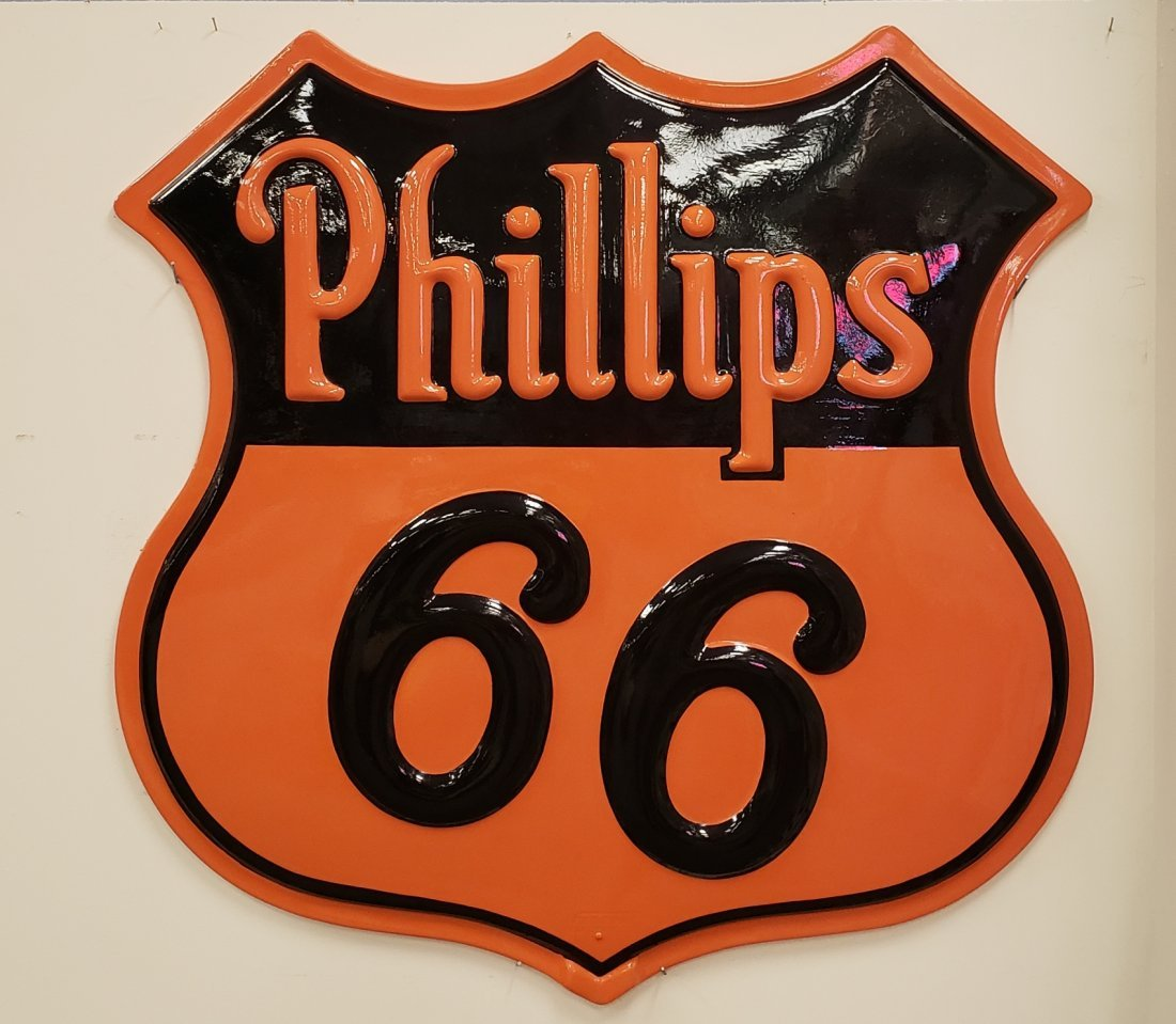 Scarce Fiberglass Embossed Phillips 66 Shield Sign
