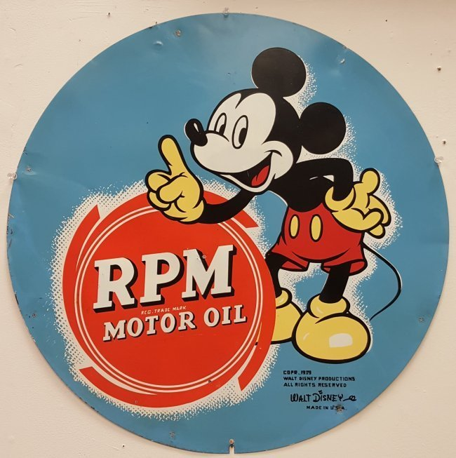 1939 Walt Disney Mickey Mouse  RPM Motor Oil Tin Sign