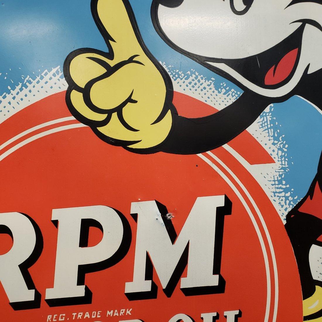 1939 Walt Disney Mickey Mouse  RPM Motor Oil Tin Sign - 2