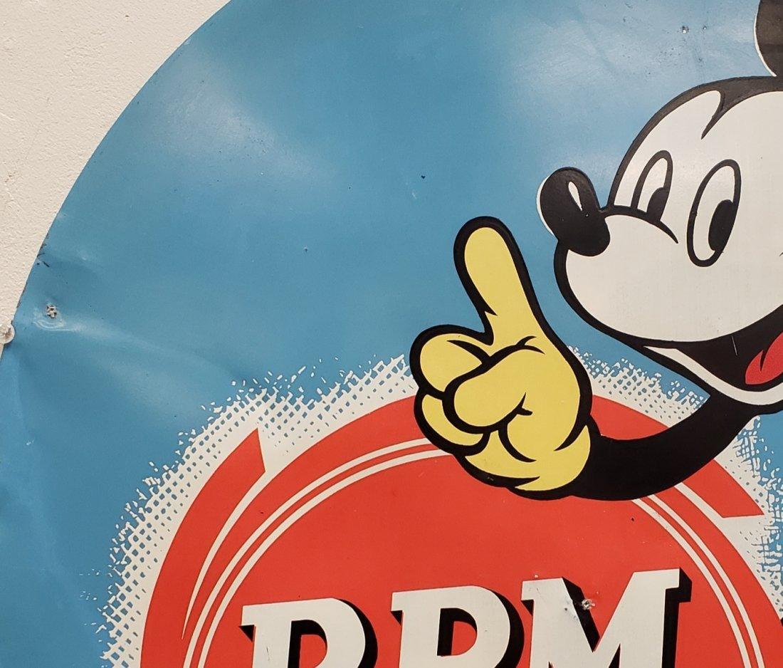 1939 Walt Disney Mickey Mouse  RPM Motor Oil Tin Sign - 4