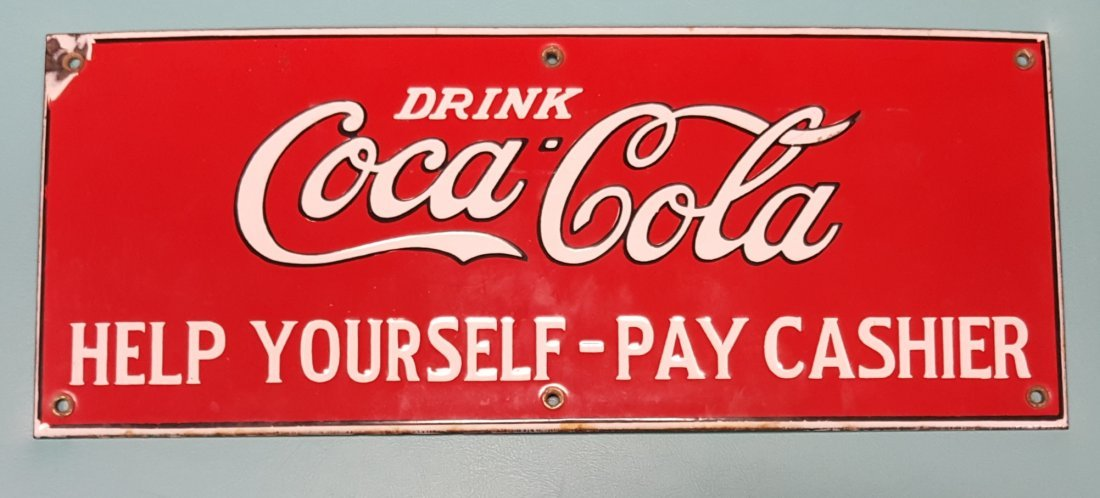 RARE Porcelain Drink Coca Cola Help Yourself Sign