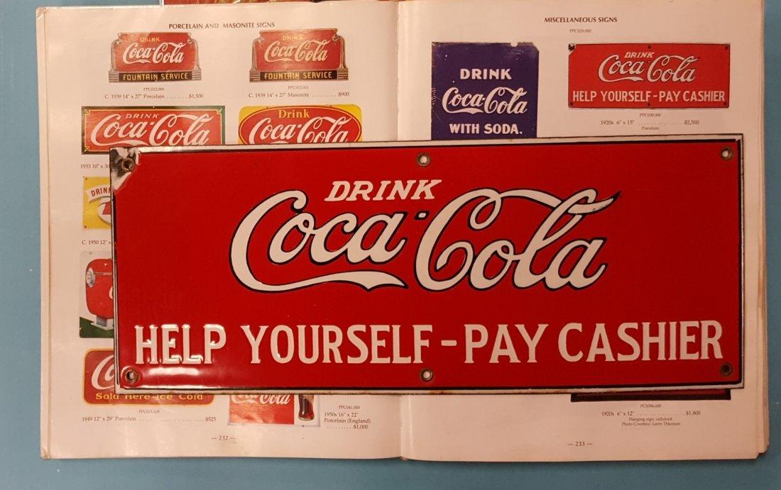 RARE Porcelain Drink Coca Cola Help Yourself Sign - 3