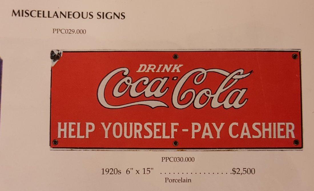 RARE Porcelain Drink Coca Cola Help Yourself Sign - 4