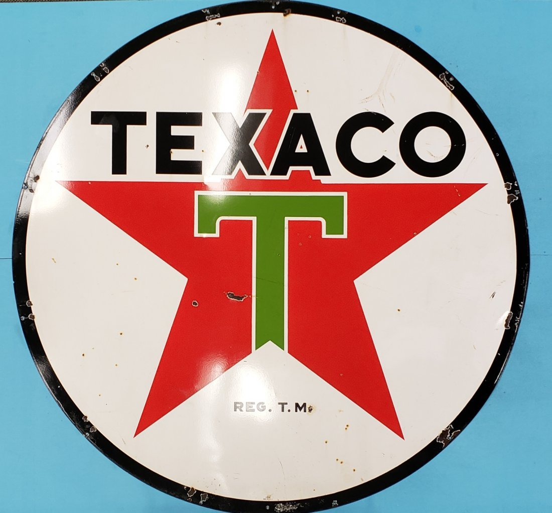 Porcelain 6ft Texaco Double Sided Sign