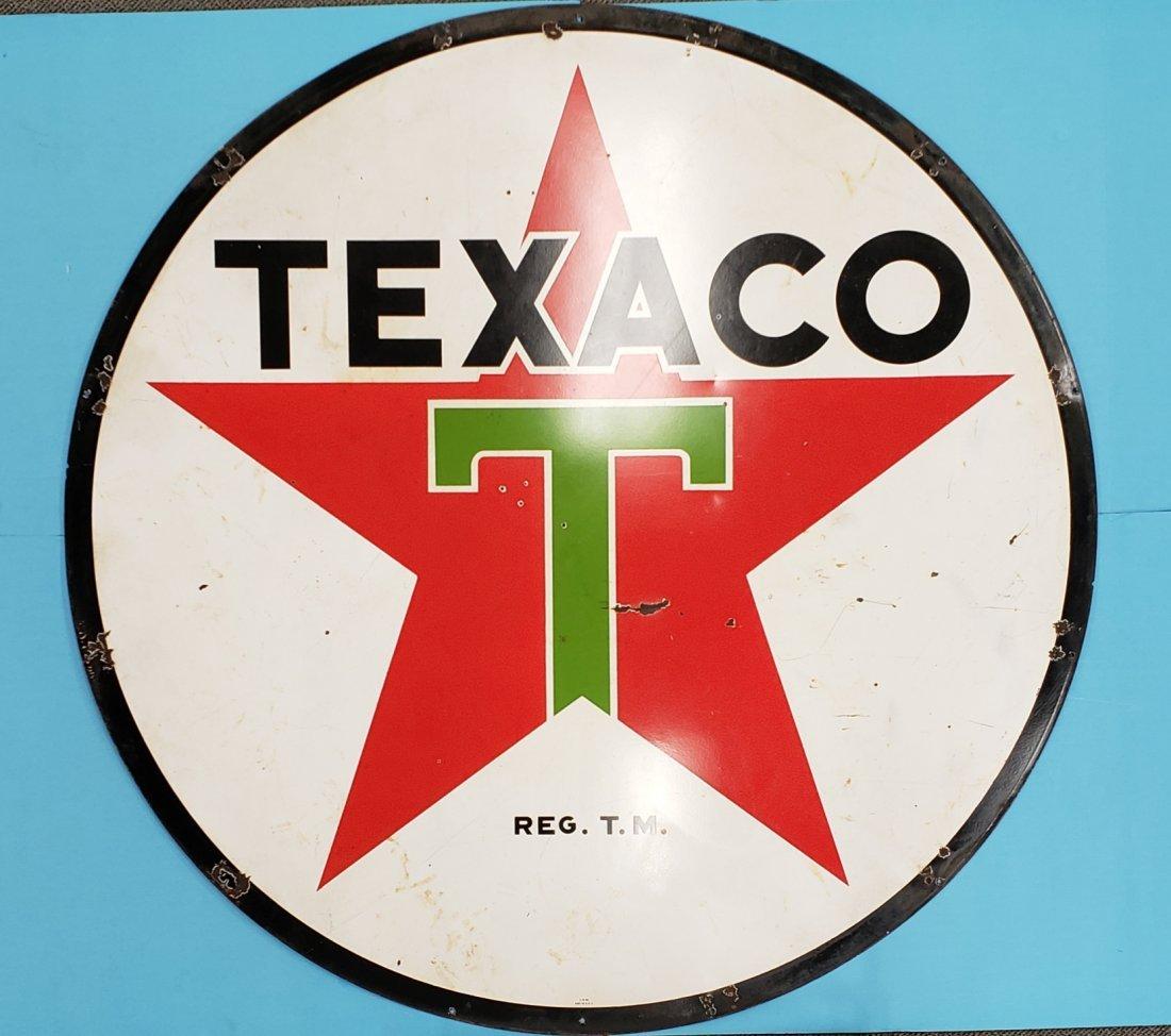 Porcelain 6ft Texaco Double Sided Sign - 2