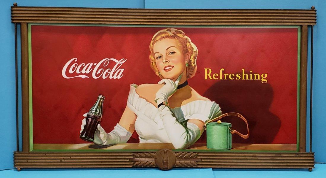 1949 Coca Cola Cardboard Sign with Original Wood Frame
