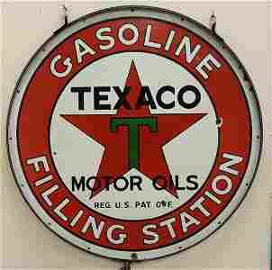 RARE Texaco Gasoline Filling Station Porcelain Sign