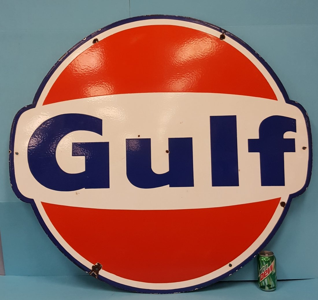 """Scarce 42"""" Gulf Double Sided Porcelain Sign"""