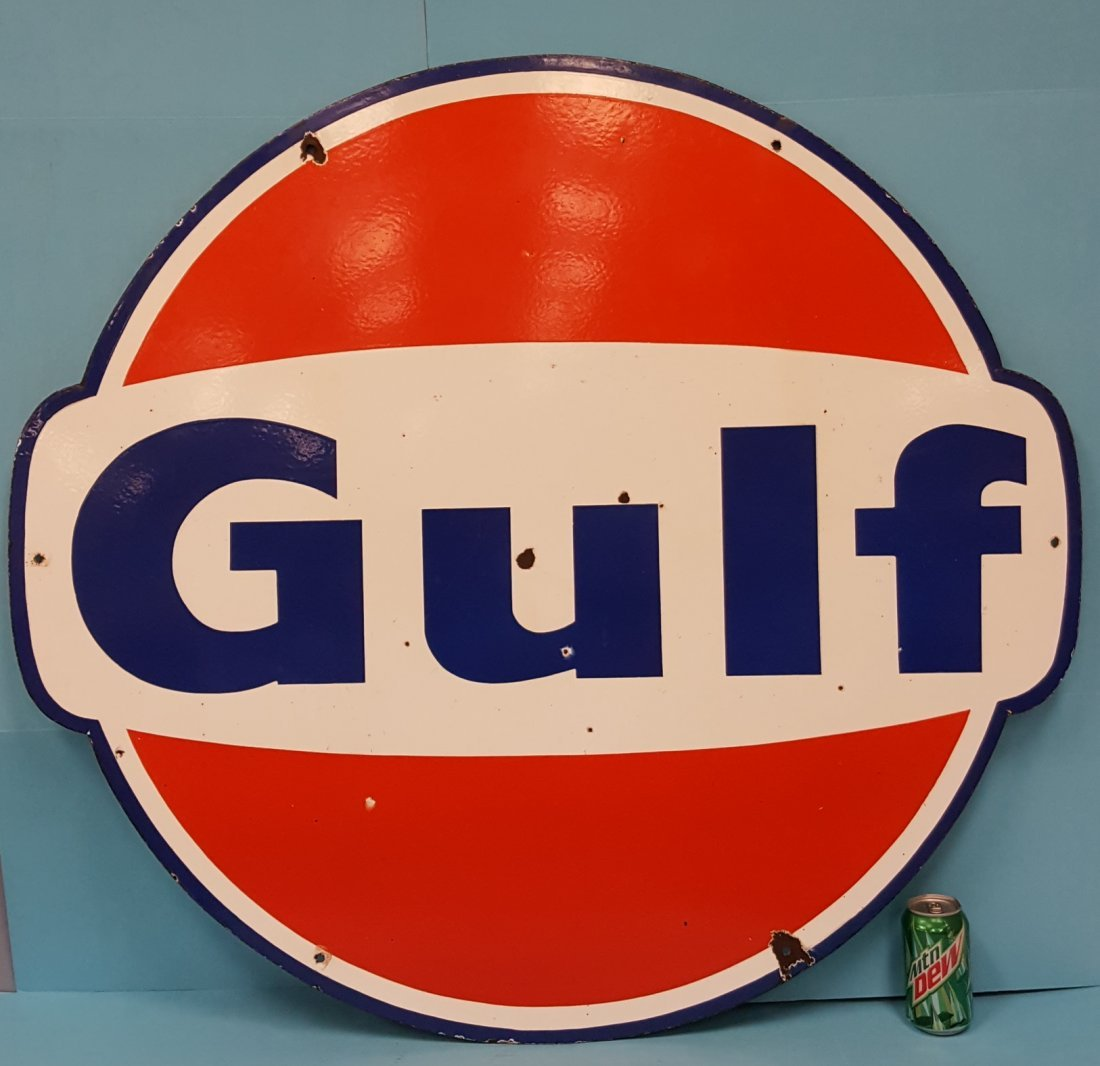 """Scarce 42"""" Gulf Double Sided Porcelain Sign - 2"""