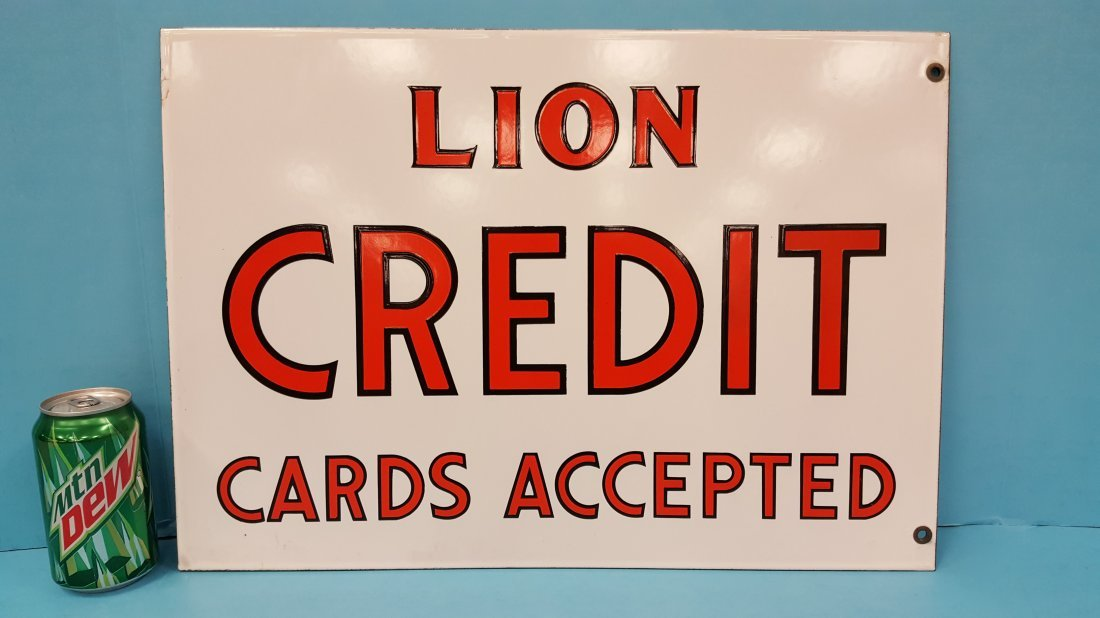 NOS Porcelain Double Sided Lion Credit Cards Sign