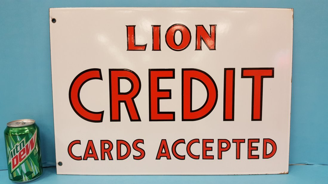 NOS Porcelain Double Sided Lion Credit Cards Sign - 2