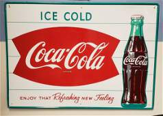 NOS Coca Cola Fishtail Ice Cold Sign with Bottle
