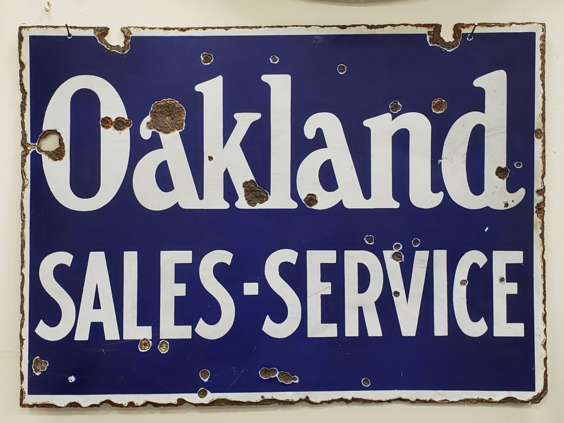 Porcelain Oakland Sales and Service Sign - 2