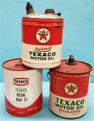 3 Texaco Motor Oil 5 gal. Cans Improved, Insulated