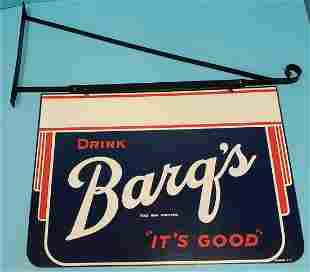 1947 Drink Barq's  2 sided Sign w/ Bracket