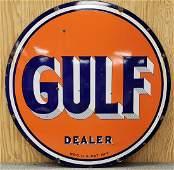 Porcelain Gulf Dealer Sign Double Sided
