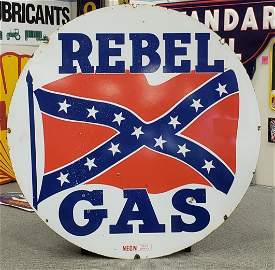 RARE REBEL GAS Double Sided Porcelain Sign