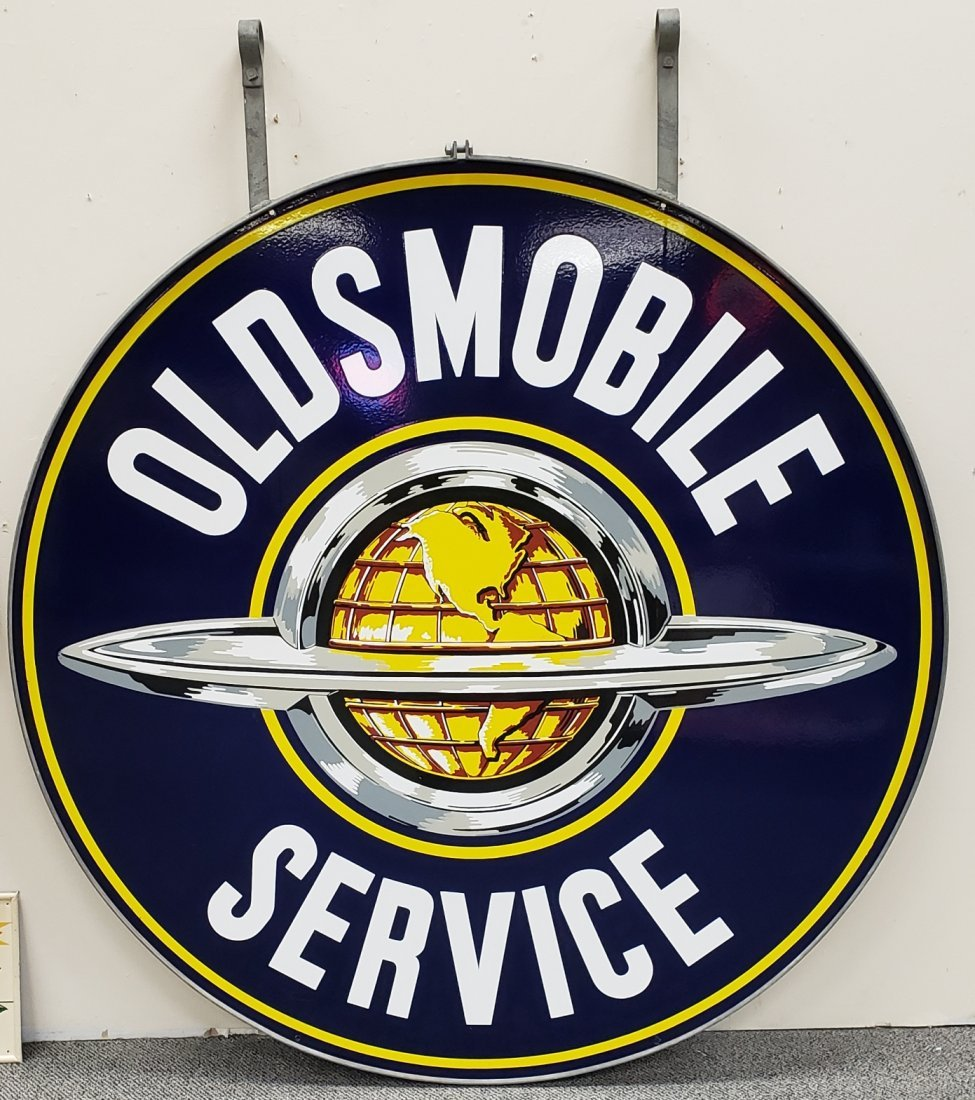NOS Porcelain Oldsmobile Double Sided Sign w/ Ring