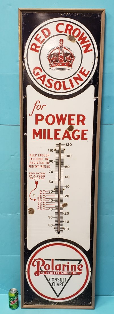 6 ft Porcelain Red Crown Gasoline Thermometer