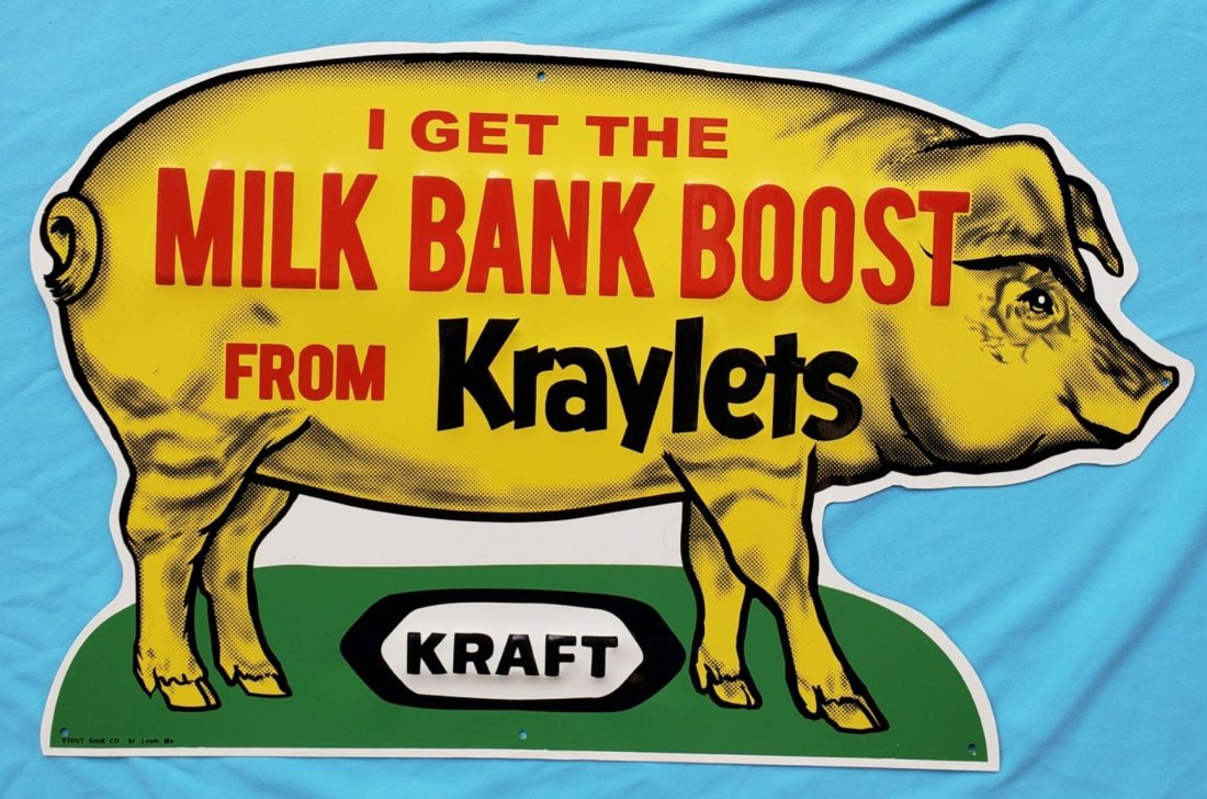 NOS Kraft Milk Bank Boost from Kraylets Tin Sign