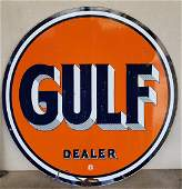 Porcelain Gulf Dealer Service Station Sign