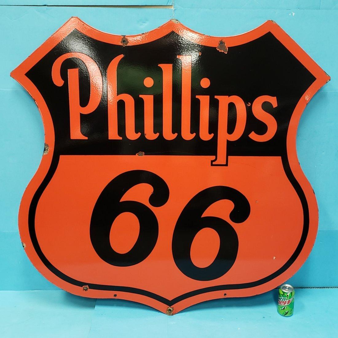 Porcelain Phillips 66 Double Sided Dealership Sign