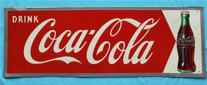 Drink Coca Cola Arrow Tin Sign w/ Bottle
