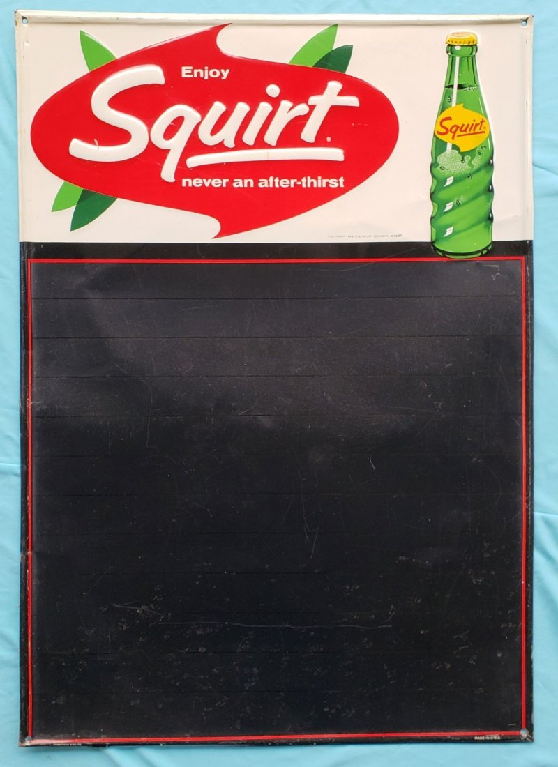 1964 Embossed Squirt Chalk Menu Board Sign