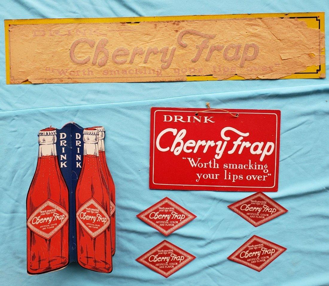 Cherry Frap Embossed Tin Sign, Fan pull, labels lot
