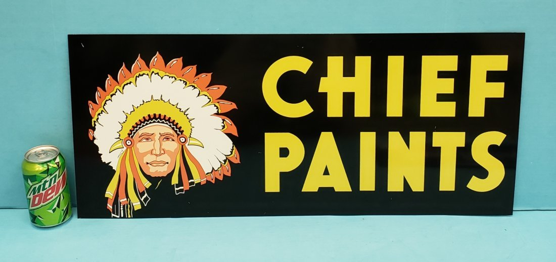 NOS Chief Paints  Double Sided Tin Sign