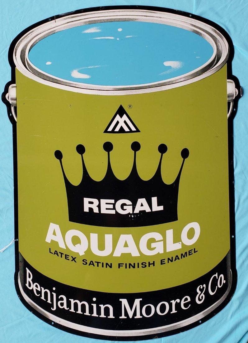 Large Benjamin Moore  Aquaglo Die Cut Paint Can Sign