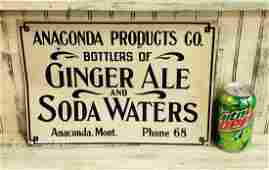 Anaconda Products Ginger Ale Soda Waters Tin Sign