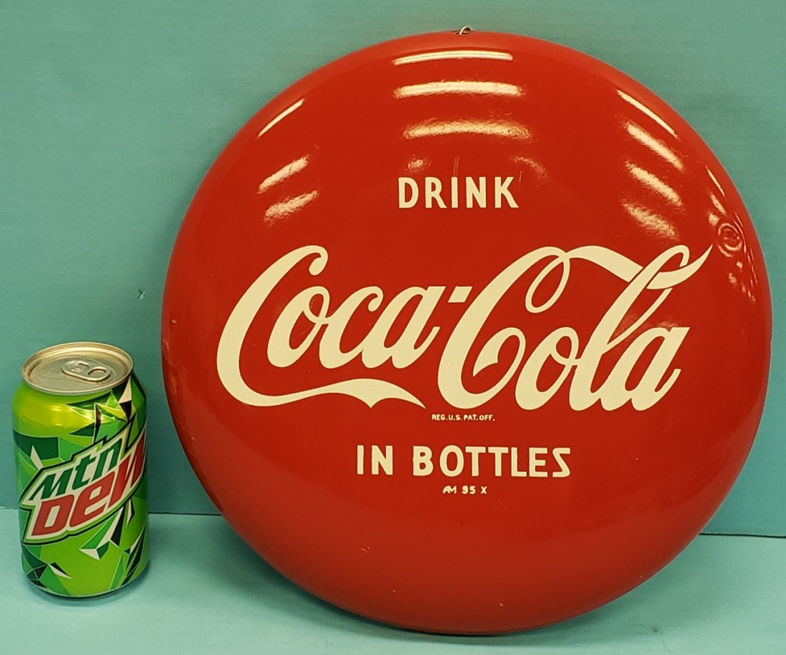 "12"" Metal Coca Cola Button"