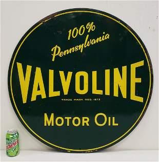 Valvoline Motor Oil 2 sided Round Tin Sign