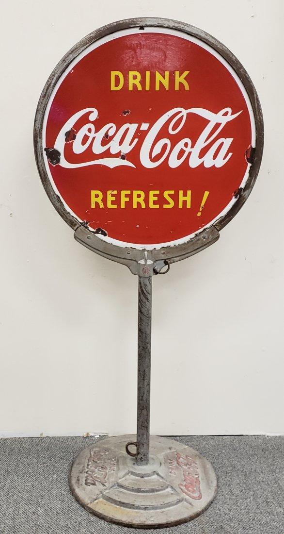 1938 Porcelain Coca Cola Lollipop Sign on Iron Base