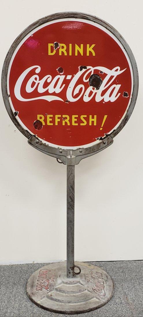 1938 Porcelain Coca Cola Lollipop Sign on Iron Base - 2