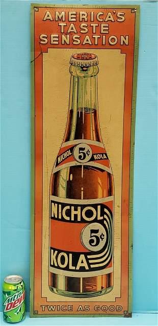 Nichol Kola Embossed Tin Advertising Sign