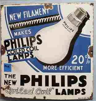 Porcelain Philips Lamps Light Bulb Sign