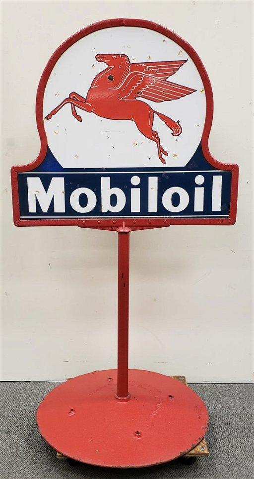 Porcelain Mobiloil Pegasus Lollipop Sign & Base