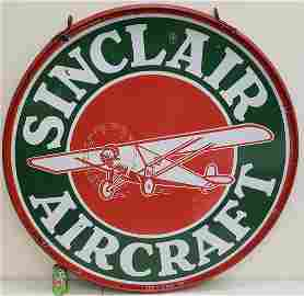 Porcelain Sinclair Aircraft Sign Double Sided