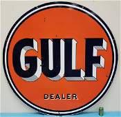 1954 Porcelain Gulf Dealer Sign Double Sided