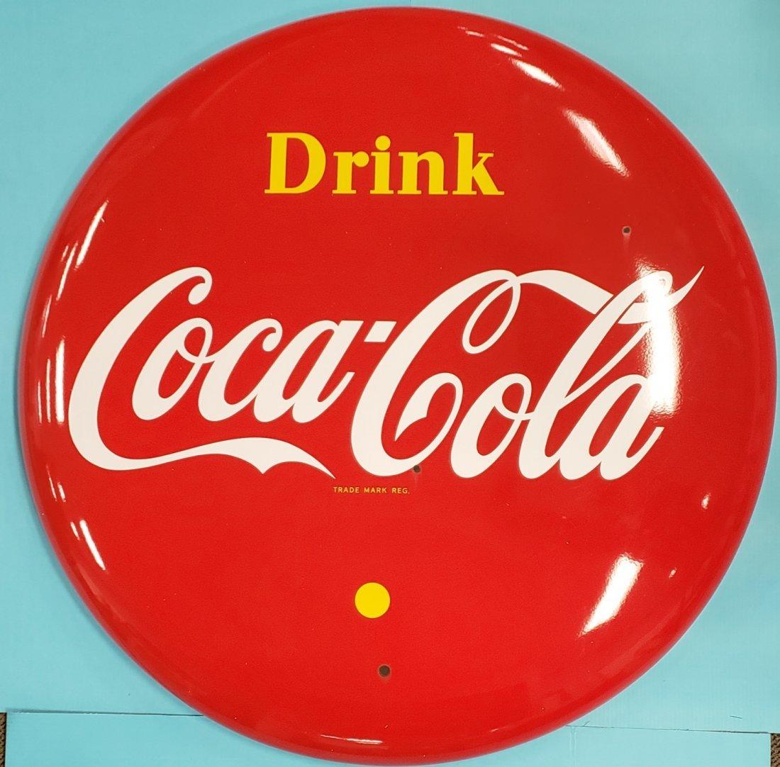 """48"""" Porcelain Canadian Coca Cola Button Sign"""