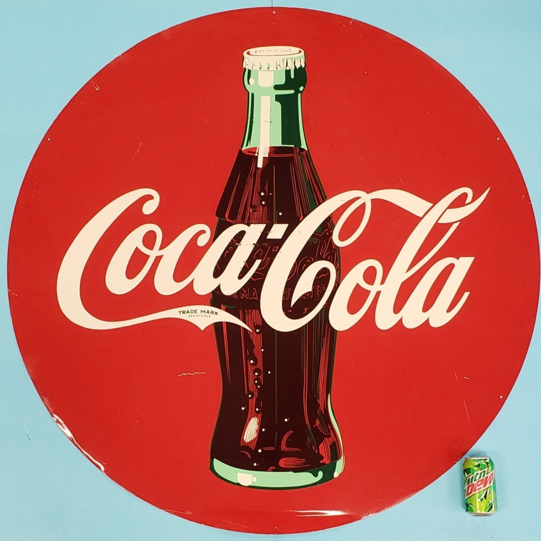 "48"" Round Tin Disc Coca Cola Sign"