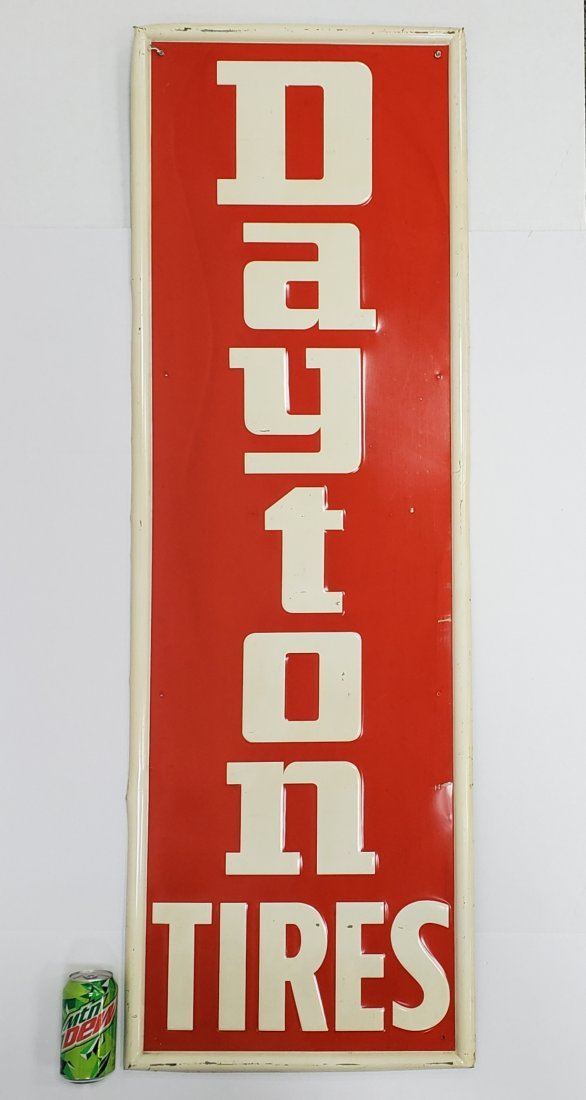 Dayton Tires Vertical Tin Sign