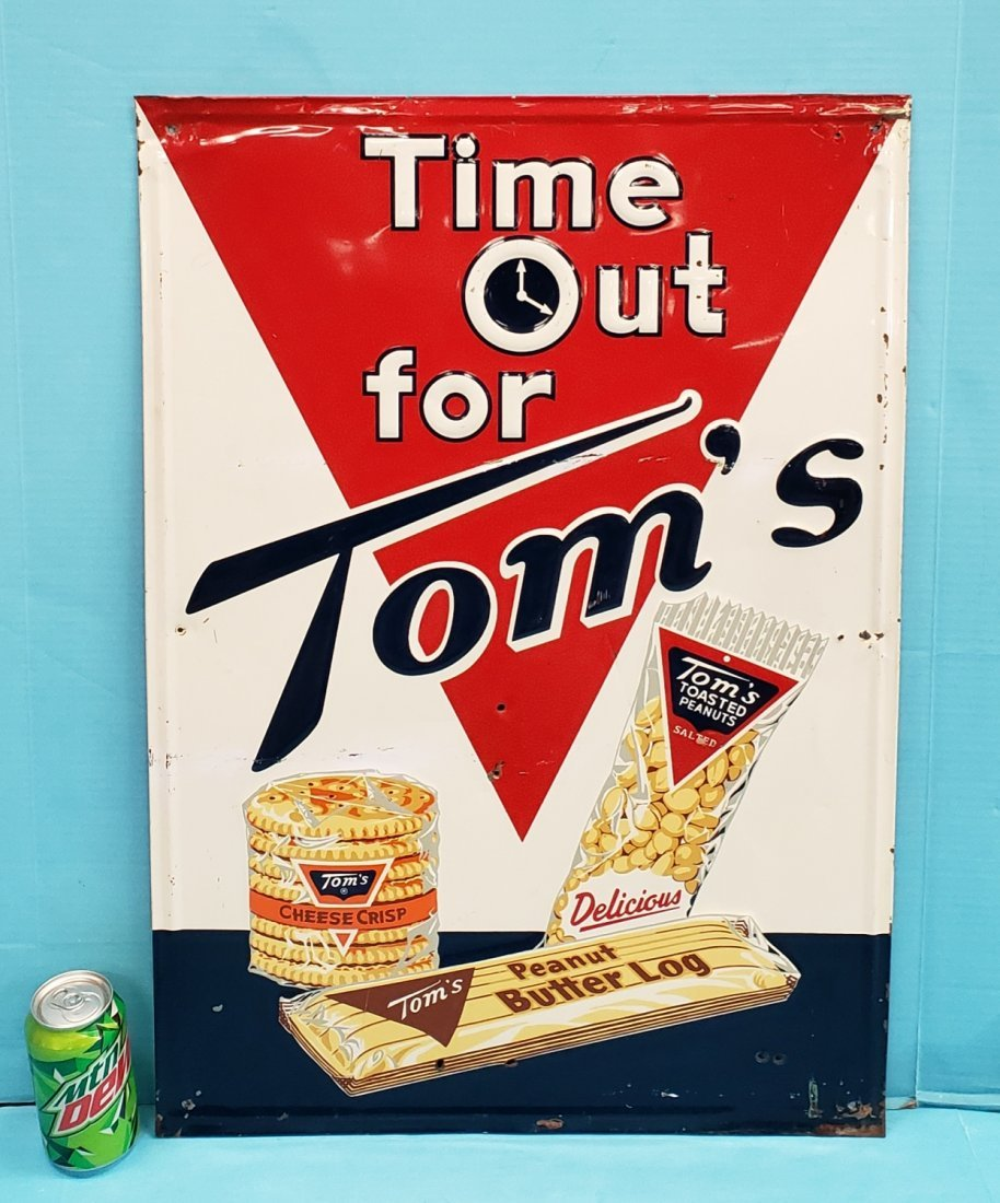Tom's Time Out Embossed Tin Sign