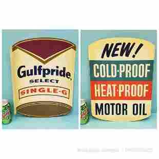 NOS Gulfpride Motor Oil Flange Sign