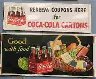 2 NOS Coca Cola Paper Window Signs